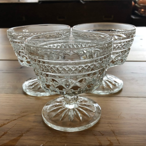 Vintage Other - Set of 3 etched cut glass small dessert glasses